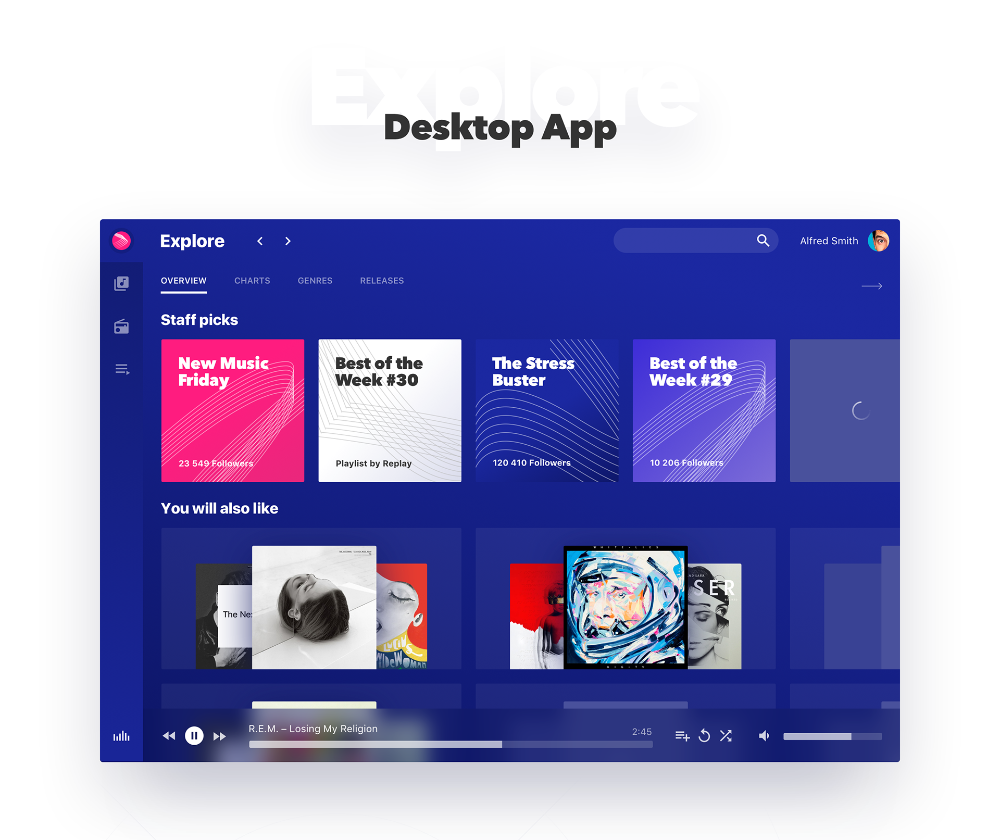 Replay Discover New Music on Behance Music app, New