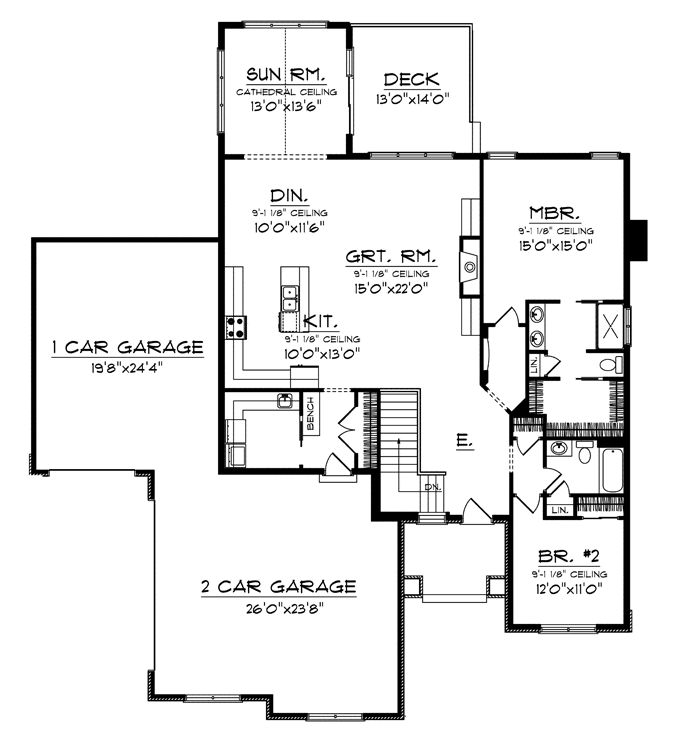 Small House Floor Plans Ranch: Empty Nester Plan 1