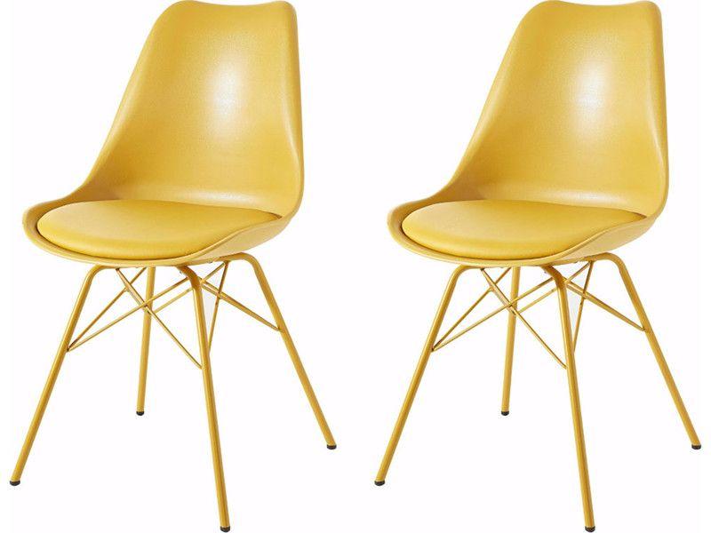 Modernes 2er-Set Stühle Schalenstuhl Loungestuhl LIAM in curry gelb ...