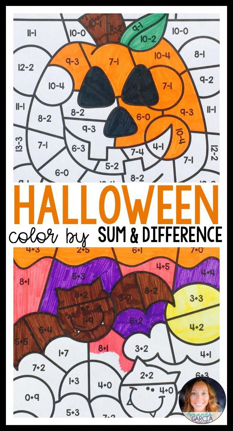 Students Love To Color By Sum And Difference These Fun Halloween Coloring Sheets Are Just What You Need Halloween Math Centers Halloween Math 1st Grade Math [ 1450 x 785 Pixel ]