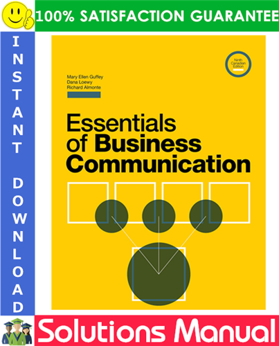 Essentials Of Business Communication 9th Canadian Edition Solutions Manual Business Communication Communication Business