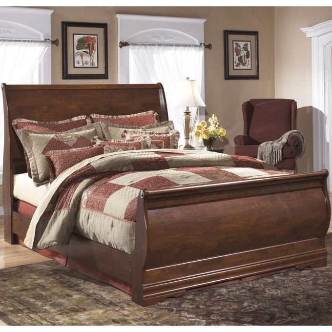 Ashley Wilmington Queen Full Sleigh Headboard Bed The Rich Finish And Classic Curved Design O