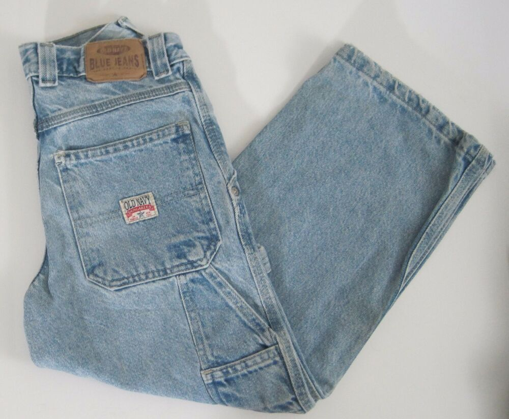95ee0137 Old Navy Dungarees Boys Carpenter Jeans. Button Closure (Note VERY EASY to  button!). Condition -A few very light stains on front.