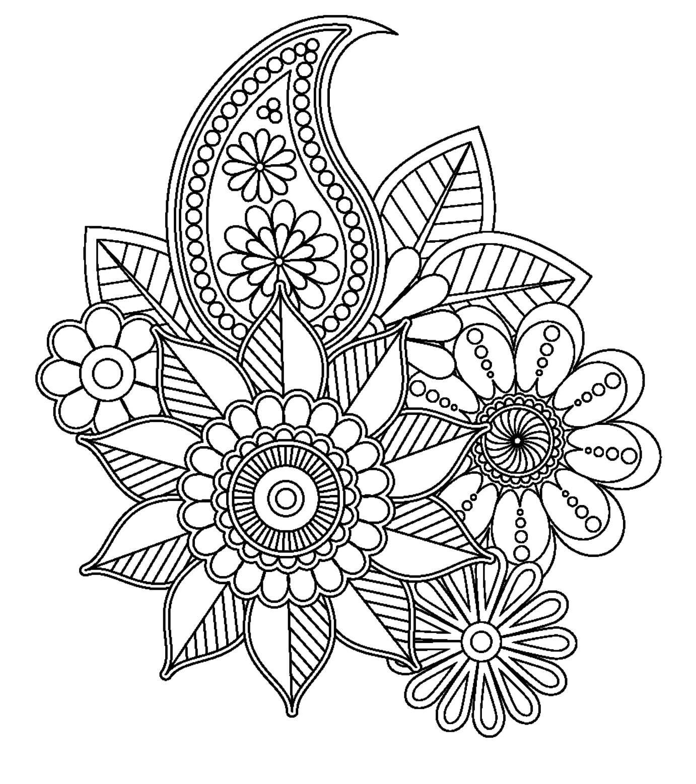 Floral Design To Colour Free Printable Coloring Pages