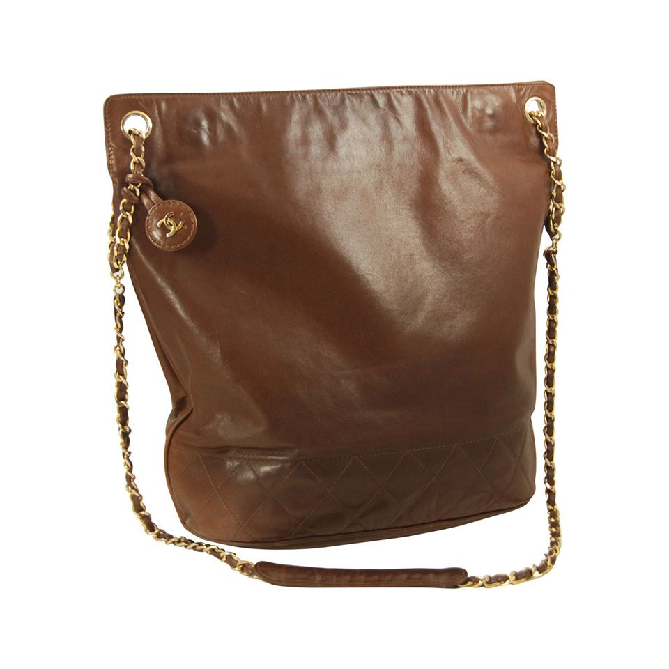 7e6e88e27f0770 1970s Brown Lambskin Chanel Tote | See more vintage Handbags and Purses at  http:/