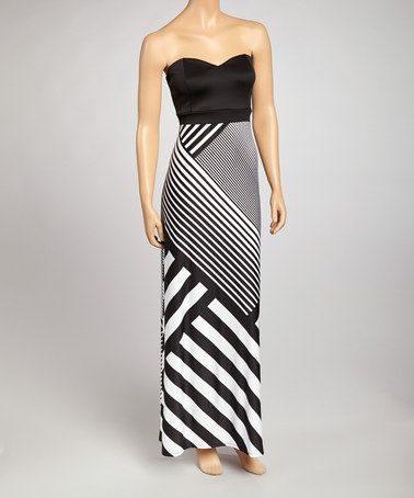 6f61f78bb19a Take a look at this Black & White Asymmetrical Stripe Strapless Maxi Dress  by Bailey Blue on #zulily today!