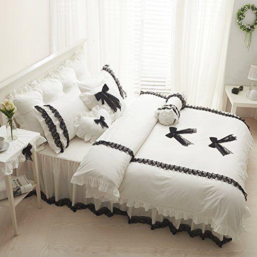 Fadfay Home Textil Design Sweet Weißer Spitze Rüschen Korean