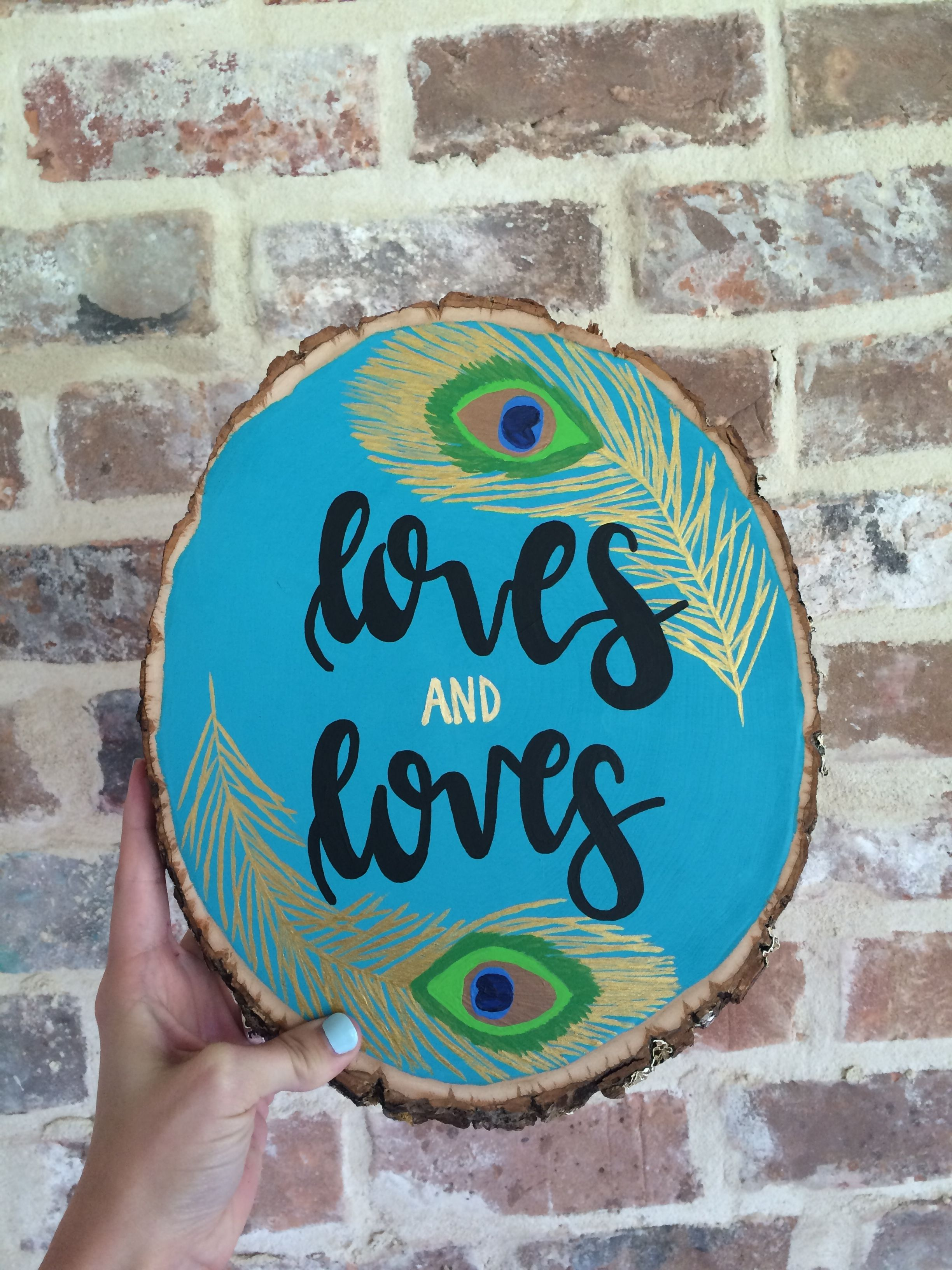 Pretty peacock feather wood slice art birthday present; nickname | by Kayla Johnson at No Place Art