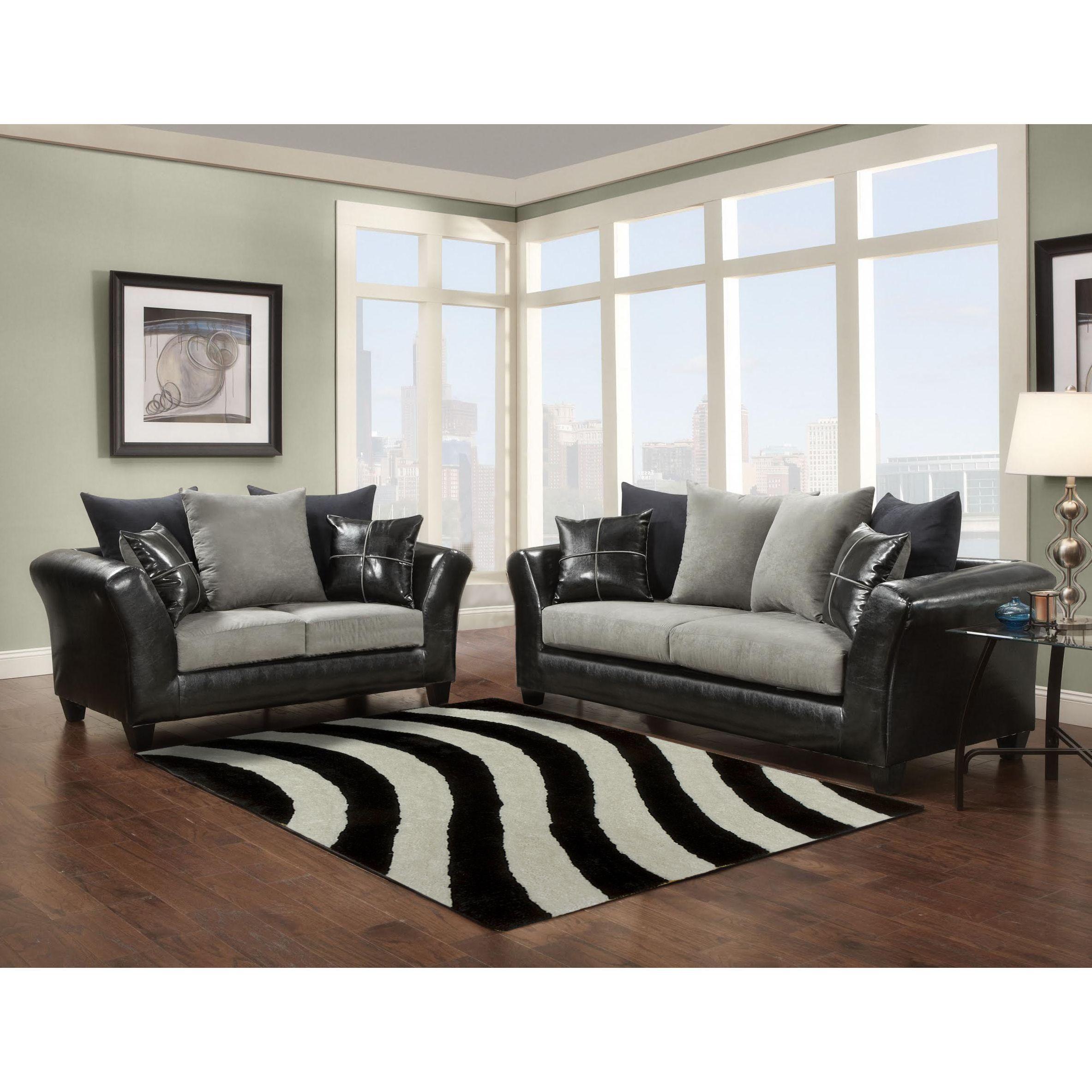 Soft Trendz Chocolate Grey Microfiber Faux Leather Sofa and