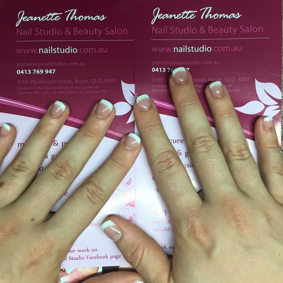 Acrylic nails on very short nail biters nails. We used a cover pink ...