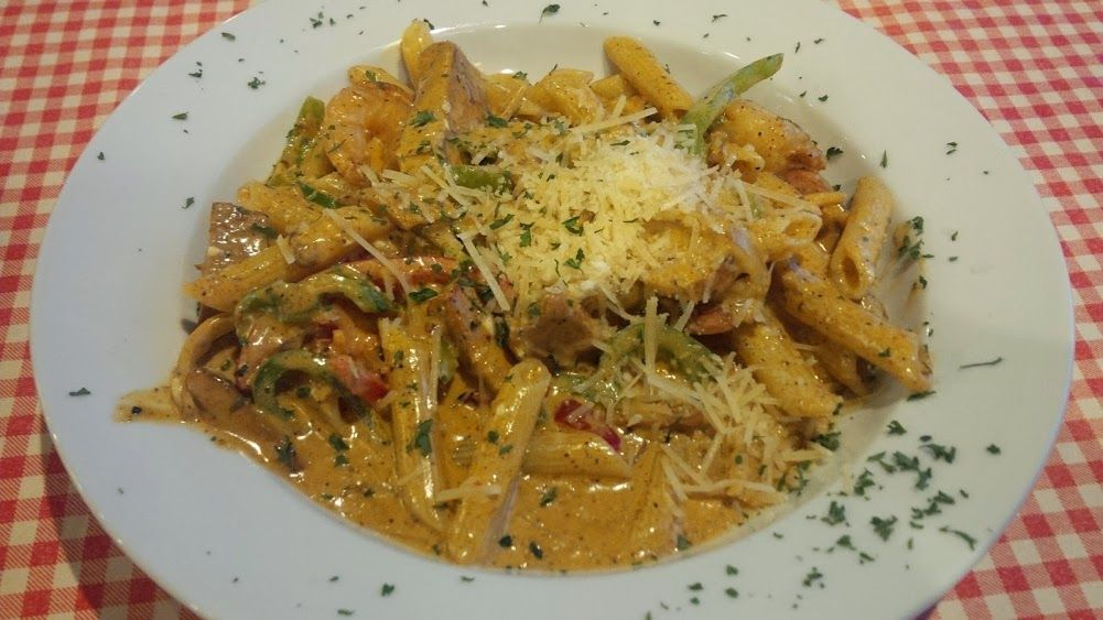 CAJUN JAMBALAYA PASTA Blackened Cajun chicken breast, shrimp ...
