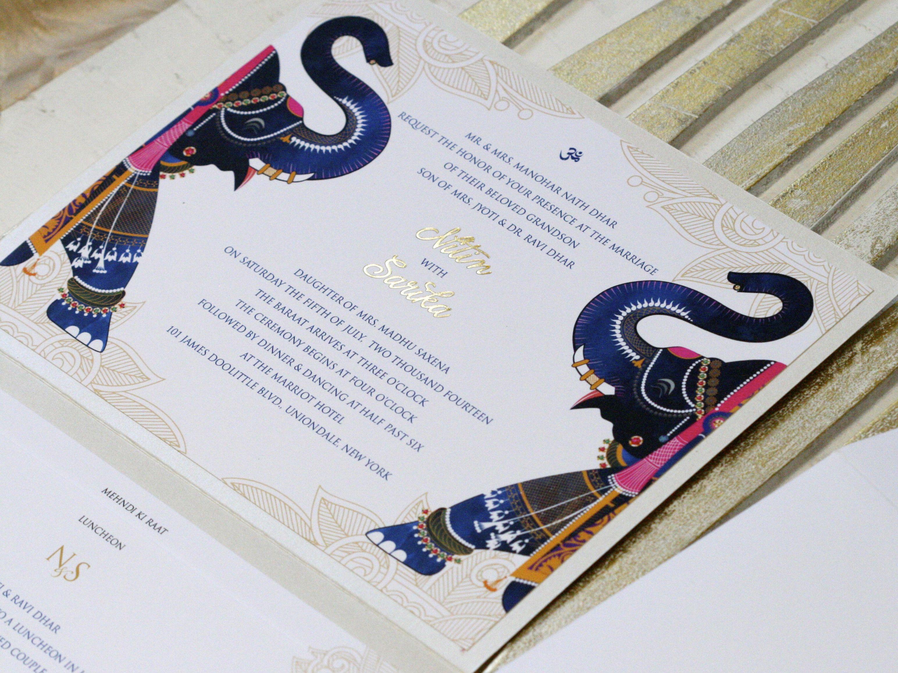 Navy Blue Themed Wedding Invitation Stationary