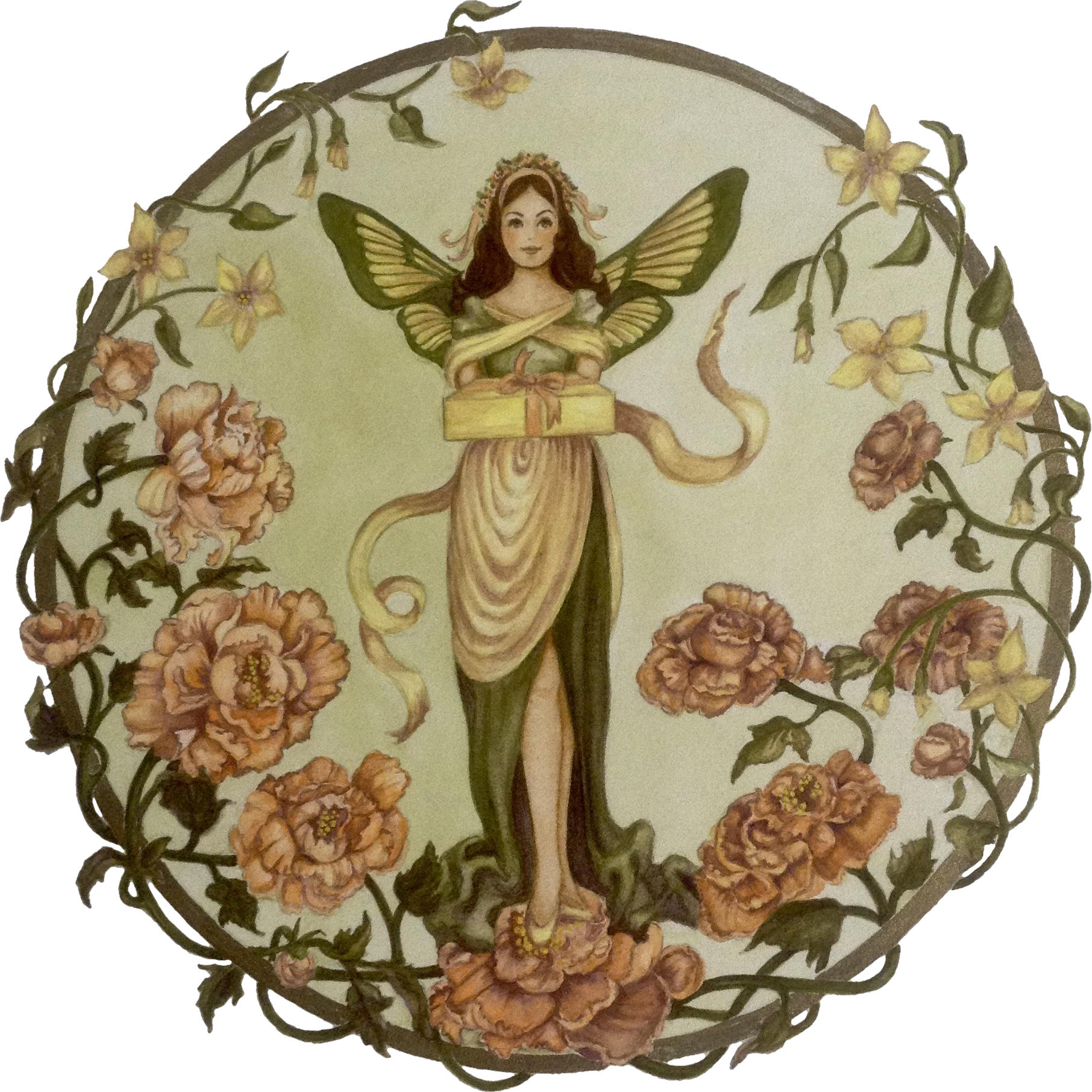 Joanne McGuire Battiste (1932 - 2009)  Butterfly Fairy Lady Bearing a Gift Watercolor Painting Signed By Pueblo Colorado Artist