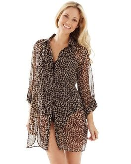 d75abd4cbeb5d Sheer leopard print cover up with long roll-up sleeves.