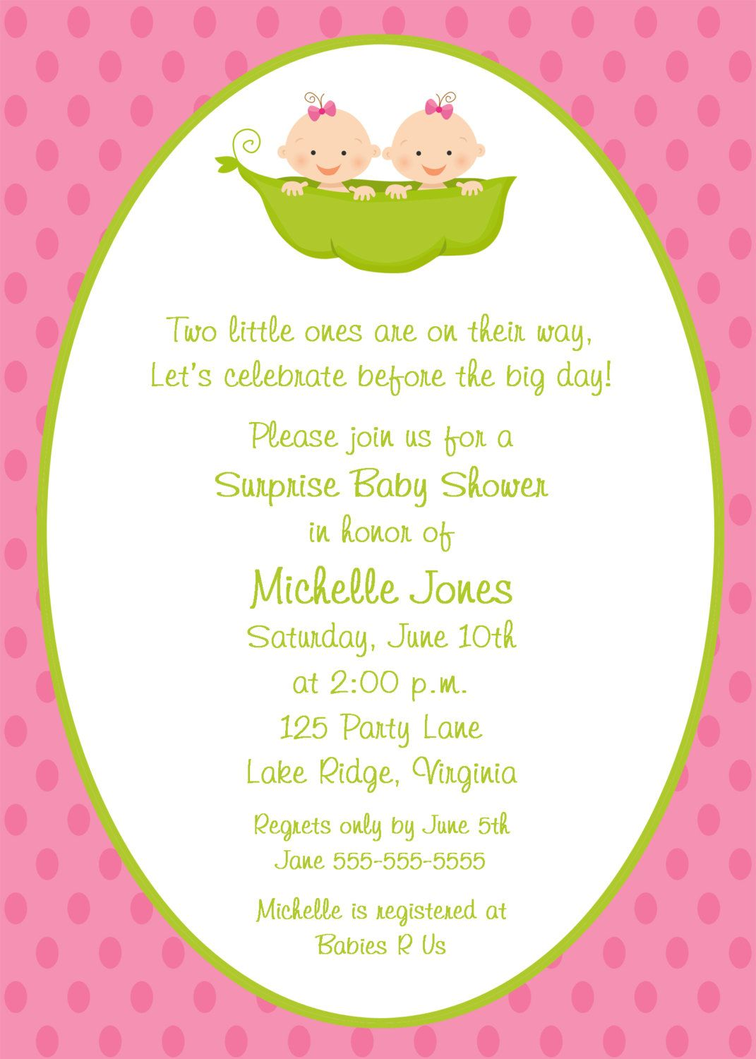 Two Peas In A Pod Twin Girls Baby Shower Invitationtwin Girls Baby