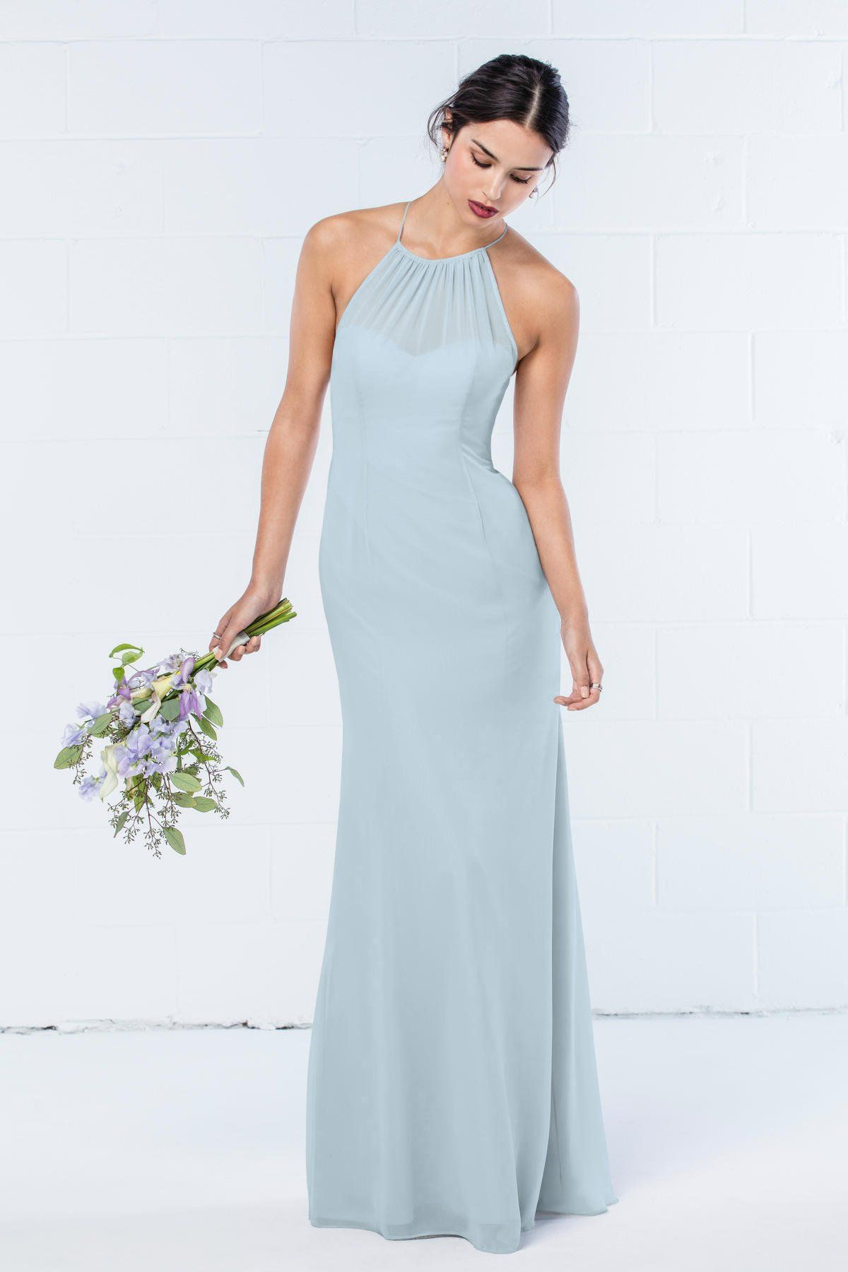 Wtoo halter neck pale blue chiffon Bridesmaids dress. Available in ...