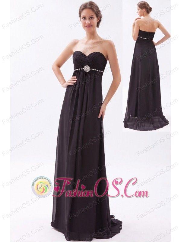 Black Empire Sweetheart Prom Dress Chiffon Beading Brush Train- http ...