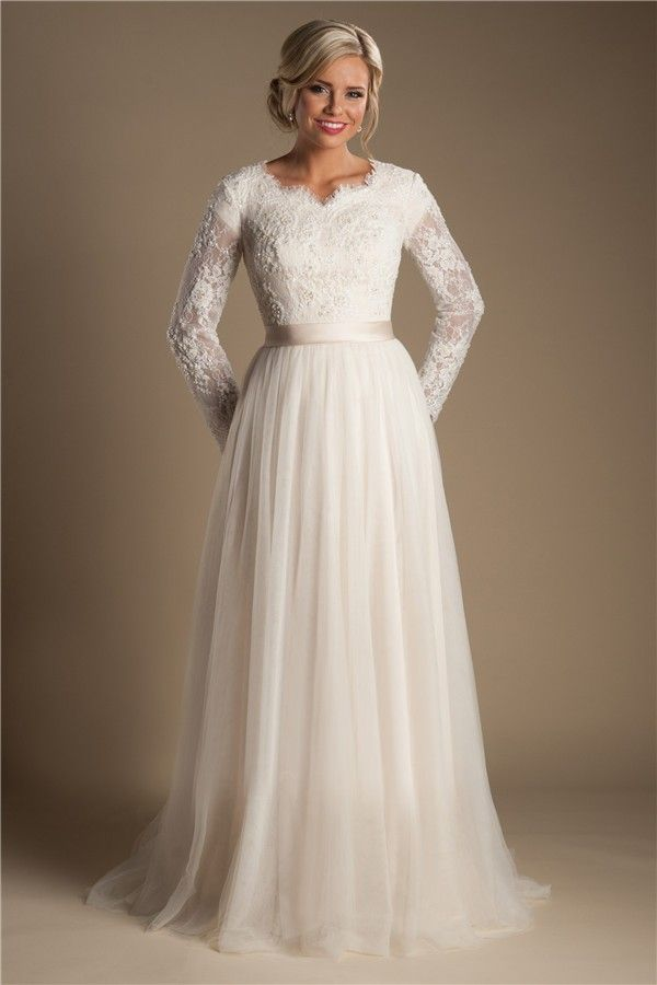 Modest a line long sleeve champagne tulle lace wedding for Tulle wedding dress with sleeves