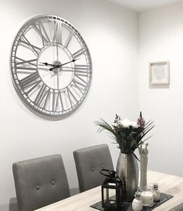 Extra Large 80cm Silver Metal Roman Numeral Wall Clock