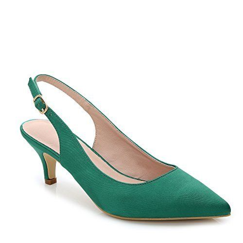 Calaier Femme Caover 12CM Aiguille Glisser Sur Escarpins Chaussures, vert B, 35