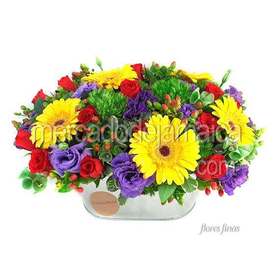 Arreglo Floral En Base Rectangular Con Lisianthus Morados