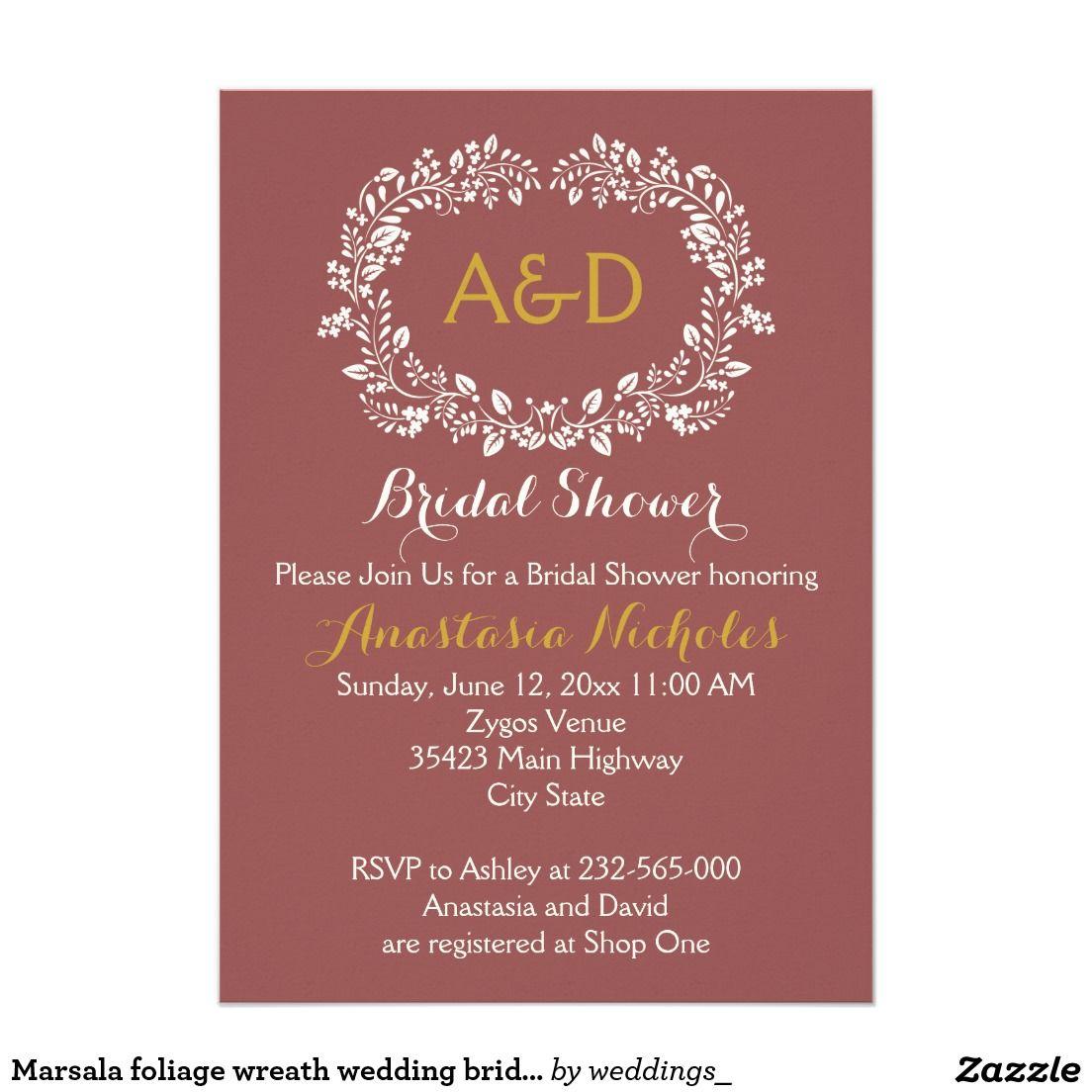Marsala foliage wreath wedding bridal shower | WEDDING: BRIDAL ...