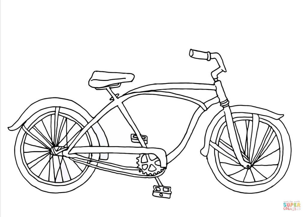 Cruiser Bicycle Coloring Page Free Printable Coloring Pages