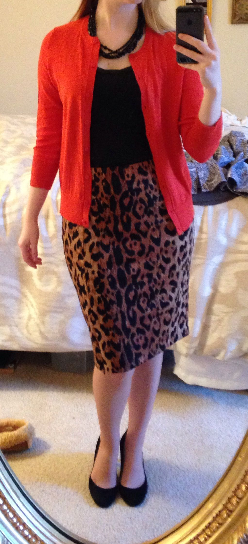 Leopard skirt, black Cami, burnt orange cardigan (@The Limited ...