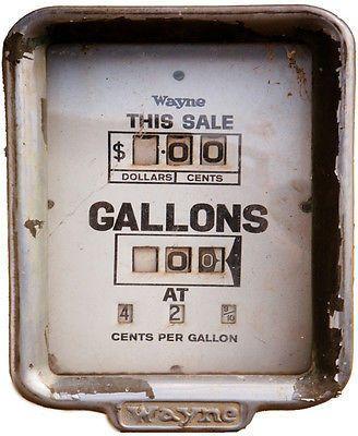 Wayne gas pump gauge sticker white gray vintage rustic vintage