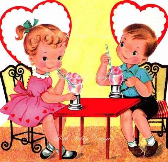 Soda You Love Me Valentines 1950s Vintage Digital Download Printable Images (82). via Etsy.