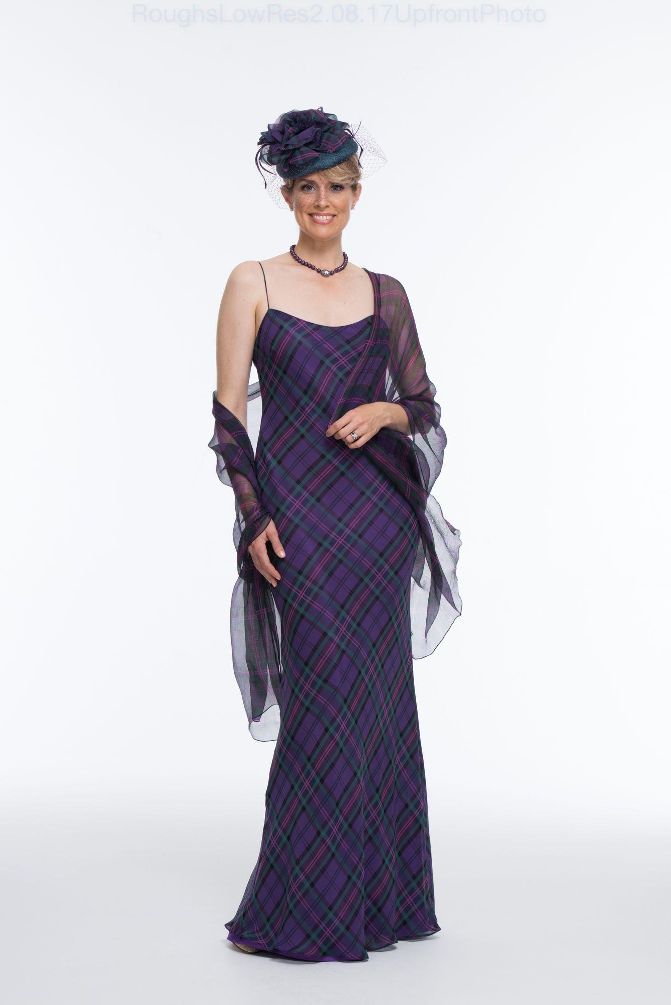 Bias cut tartan chiffon dress and printed silk tartan chiffon stole ...