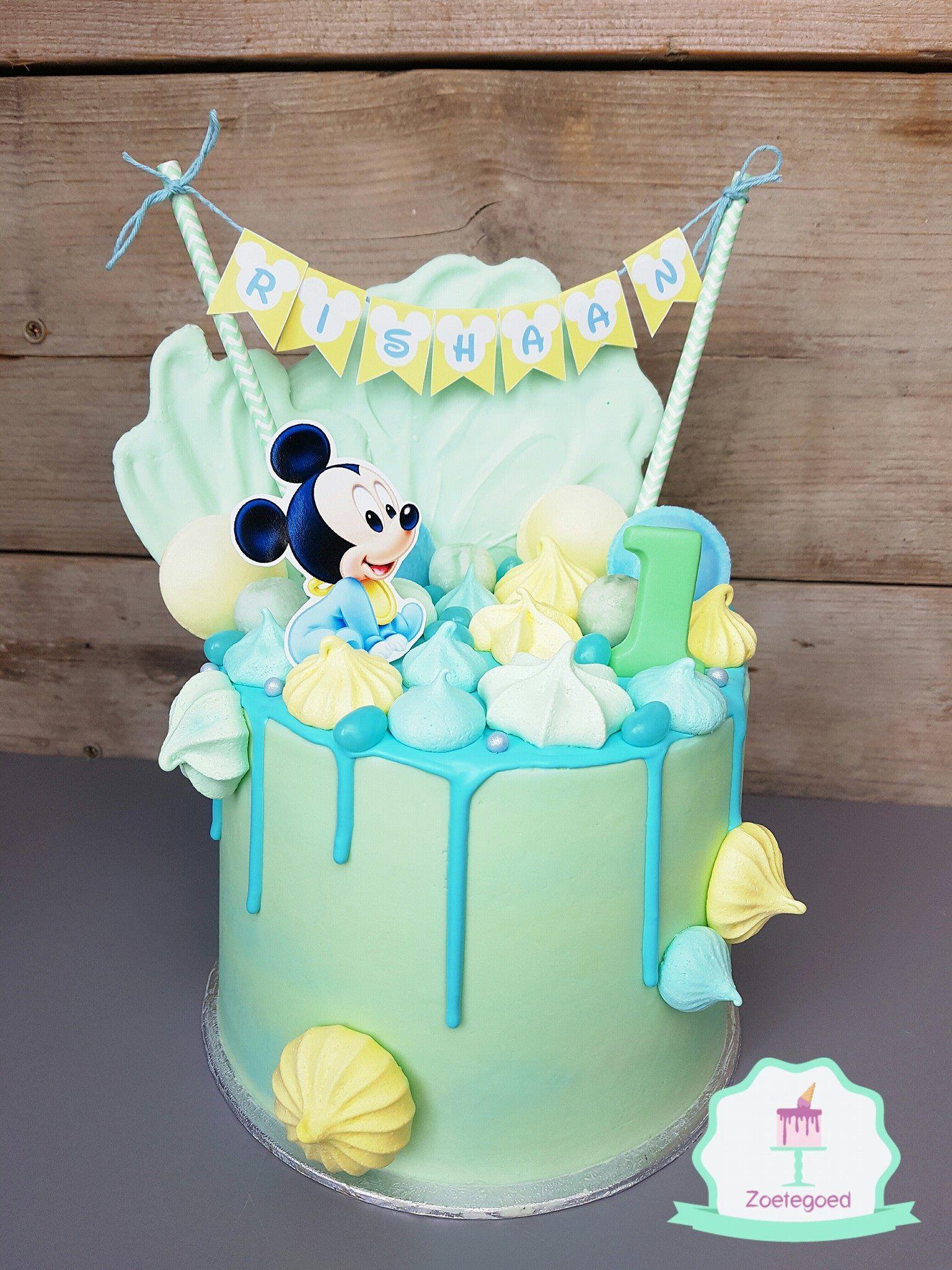 Fabulous Baby Mickey Disney Drip Cake Baby Mickey Cake Boys First Personalised Birthday Cards Sponlily Jamesorg
