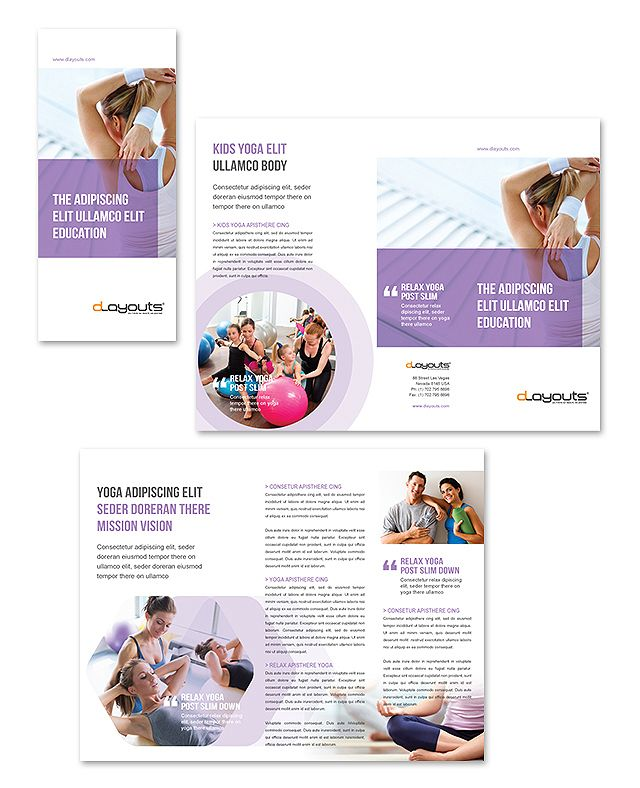 Yoga instructor studio tri fold brochure template http for Breastfeeding brochure templates