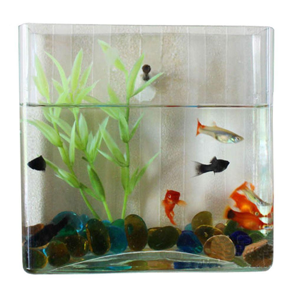 Wall Mount Hanging Betta Fish Bubble Aquarium Mini Bowl Tank Square Fish Home Fish Tank Accessories Aquarium