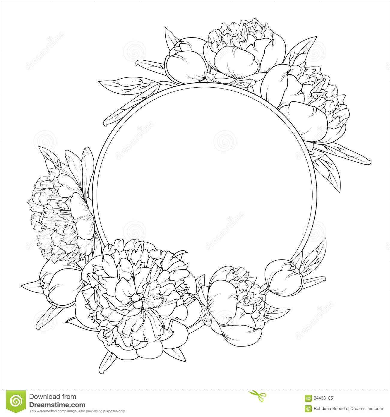 Photo About Rose Peony Spring Summer Flowers Round Frame Wreath Detailed Outline Sketch Black And White Vector Dra Wreath Drawing Peony Drawing Circle Drawing
