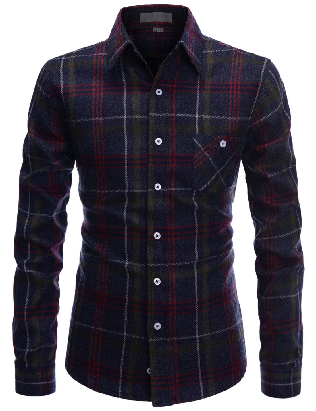 (ALLS214) TheLees Mens Slim Fit Check Pattern Flannel Casual Dress Shirts