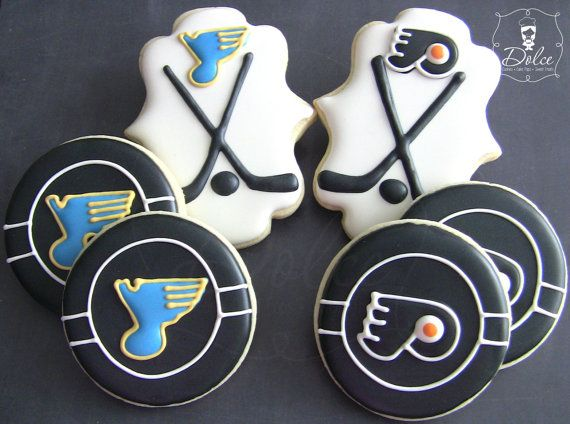 One Dozen 12 Customizable Hockey Themed Decorated Sugar Cookies Sugar Cookies Decorated Cookie Decorating Hockey Pucks Cookies