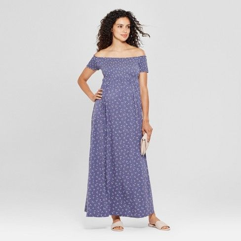 9d476e7717a05 Maternity Smocked Maxi Dress - Isabel Maternity by Ingrid & Isabel™  Midnight Sky Print : Target