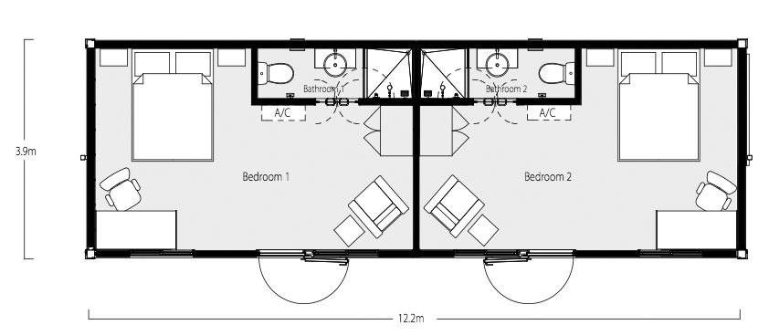 Two bedroom two bath shipping container home floor plan Shipping container cabin floor plans