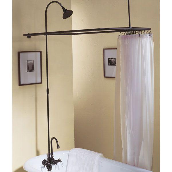 The Rio Grande Thermostatic Clawfoot Tub Shower Enclosure Kit
