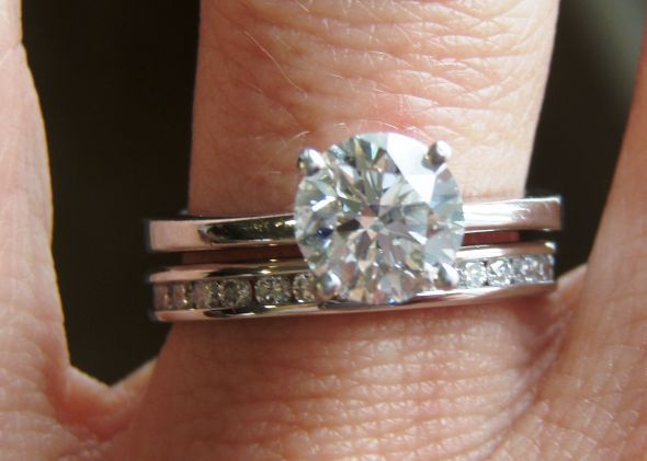My Wedding Band Is Here Lots Of Pics Weddingbee Wedding Ring Sets Wedding Ring Bands Round Moissanite Engagement Ring
