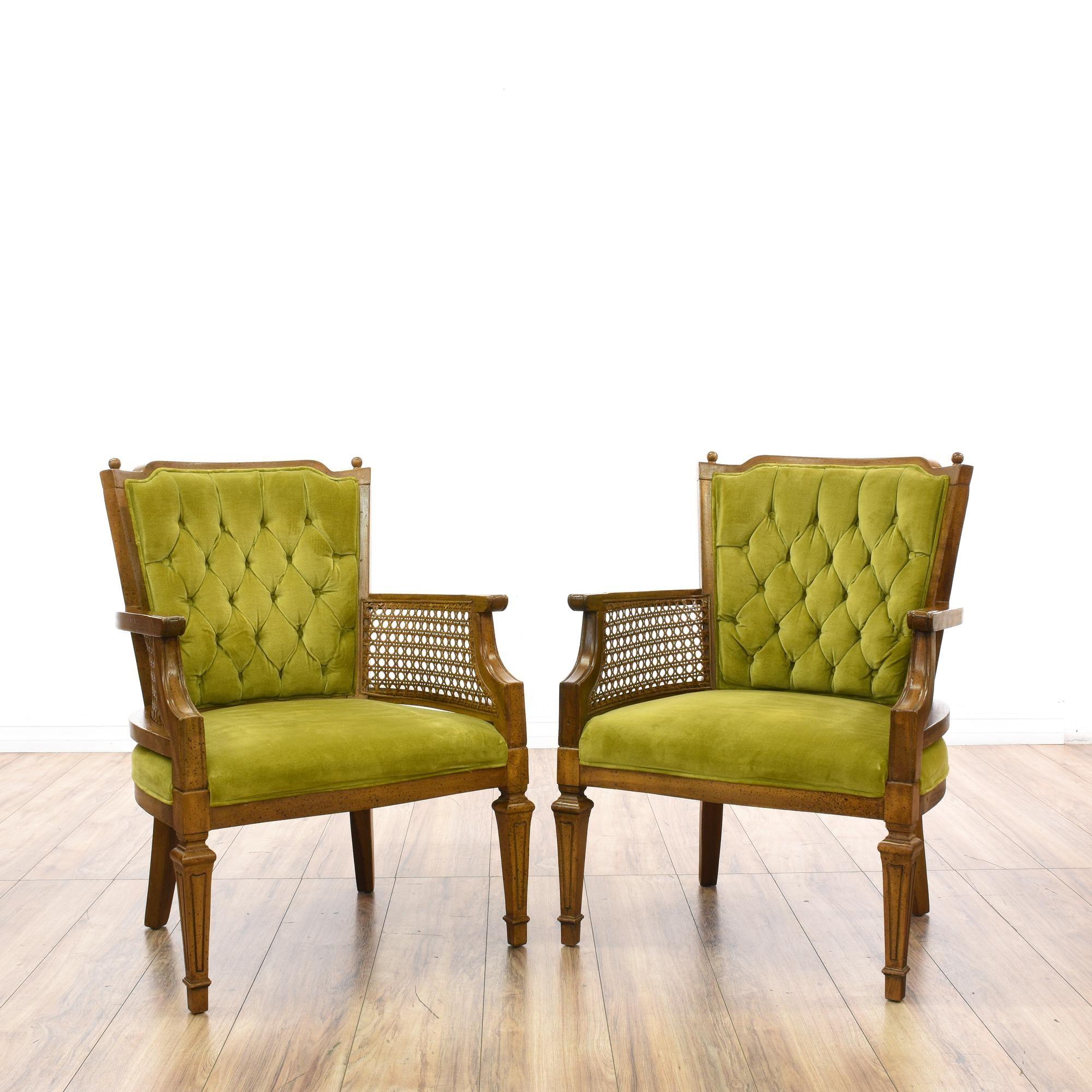 Pair Green Tufted Velvet Chairs