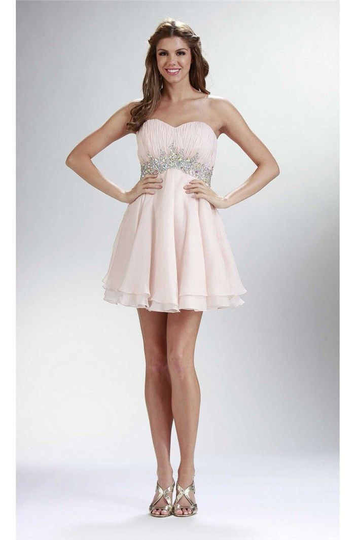 Elegant Strapless Empire Waist Short Blush Pink Chiffon Beaded Prom ...