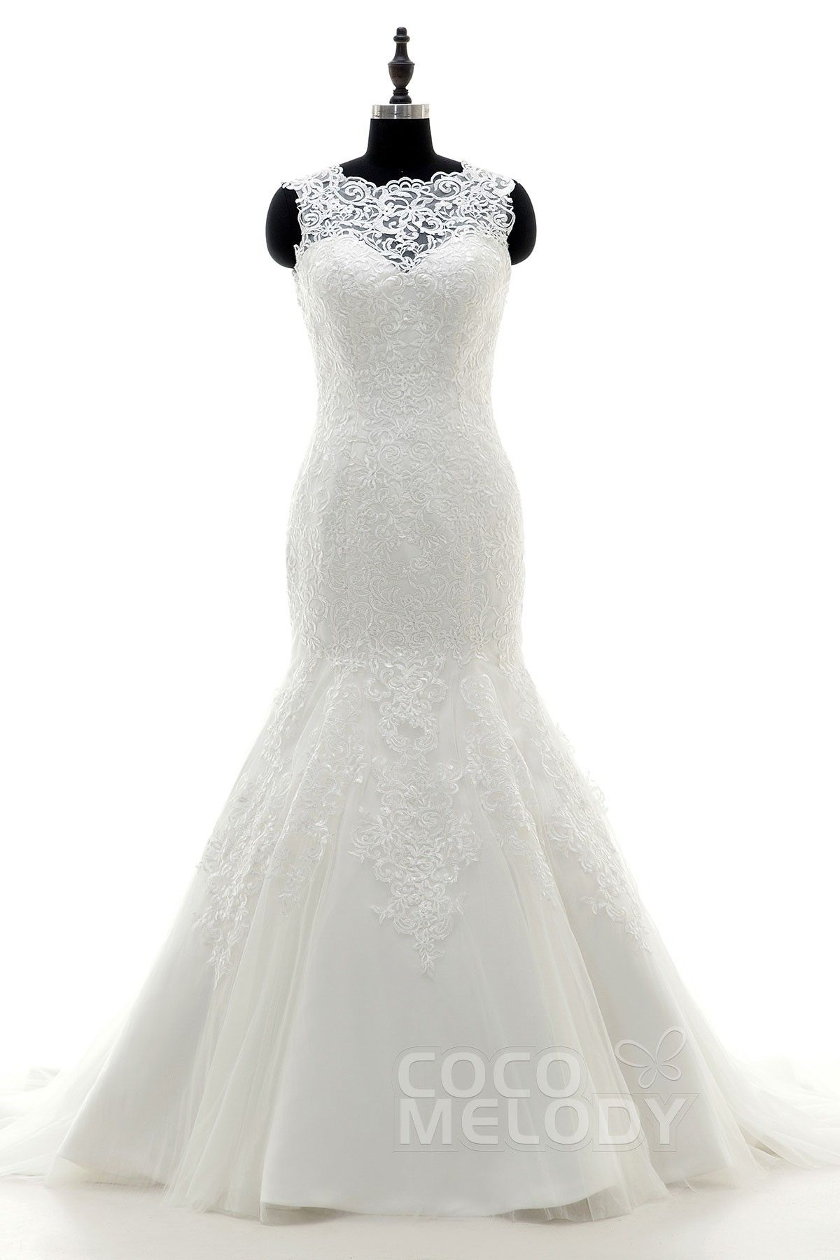 Perfect trumpetmermaid illusion dropped court train tulle ivory