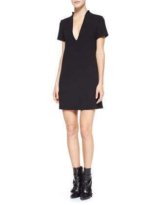 Seamed+V-Neck+Boxy+Dress,+Black+by+Alice+++Olivia+at+Neiman+Marcus.