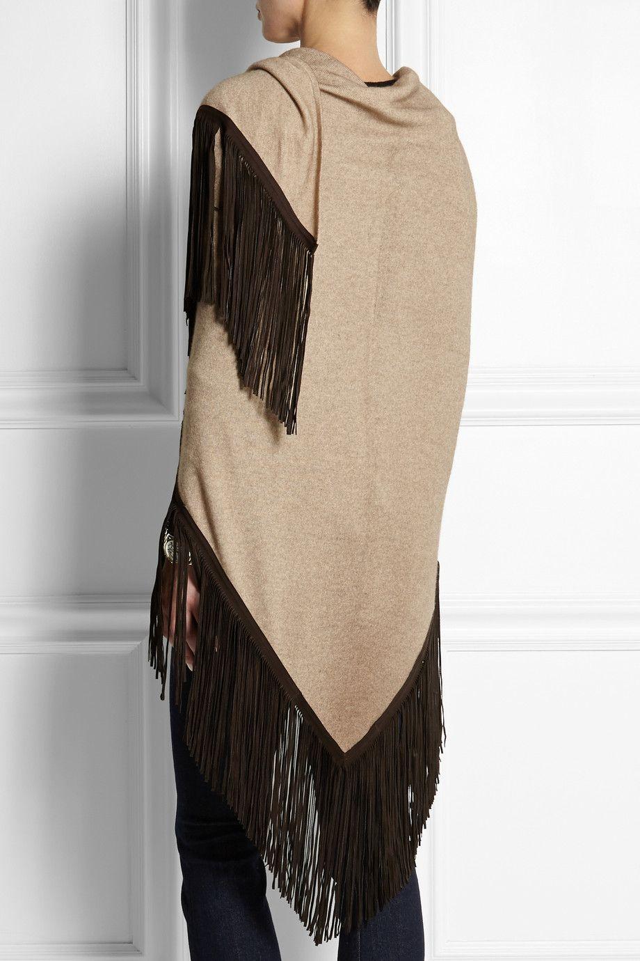 Finds Barbajada leather-fringed cashmere shawl