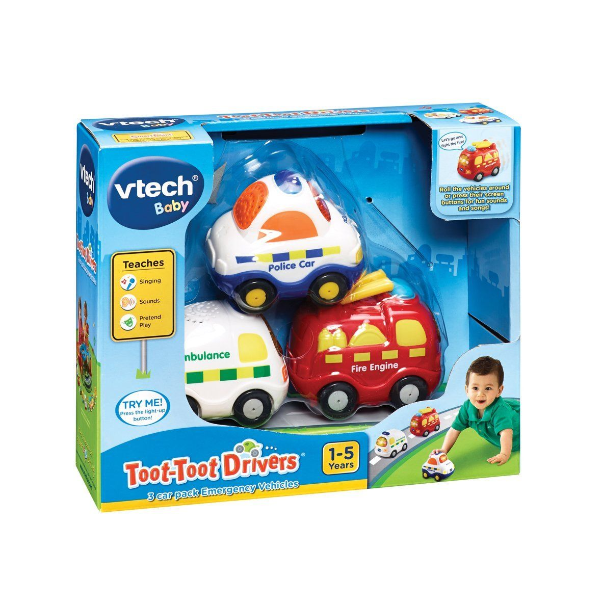 Car 3 toys  VTech Baby TootToot Drivers Emergency Vehicles Car Pack VTech