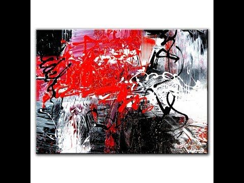 Abstract painting created with black white and red paint youtube