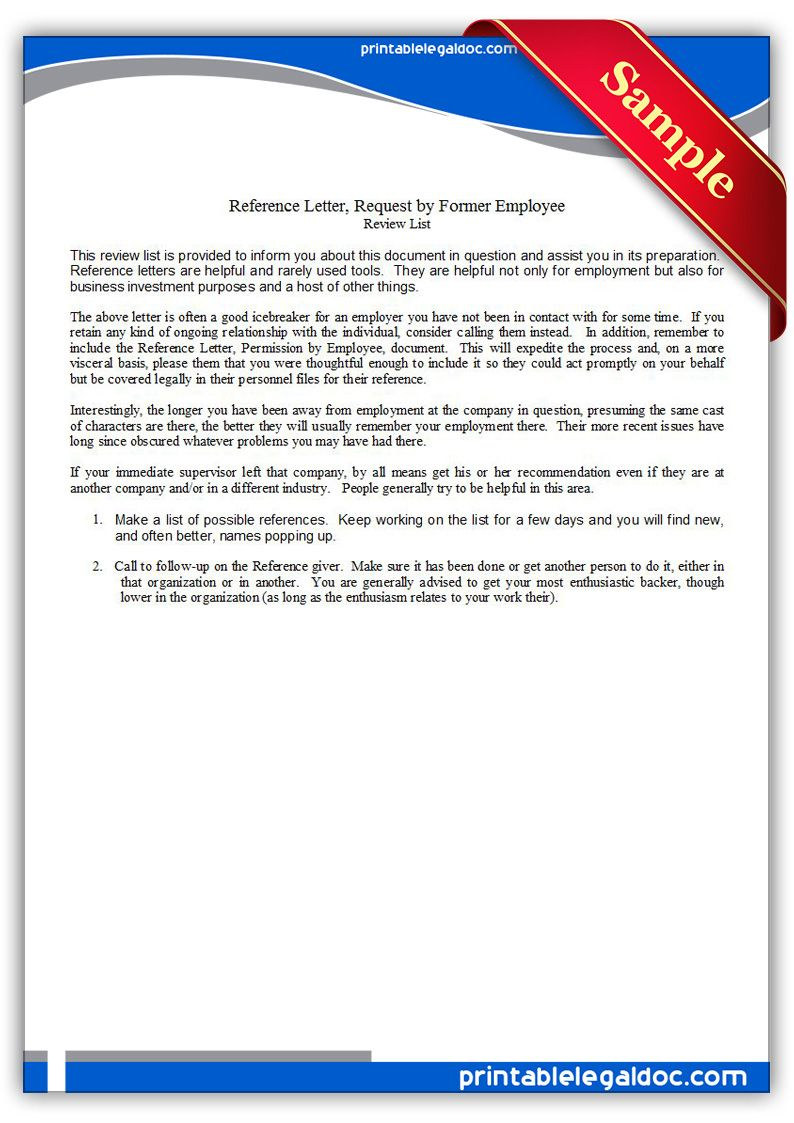 Free Printable Reference Letter Requested By Employee Legal Forms