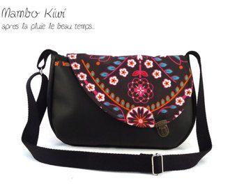 95e9fe3a57 Sac bandoulière femme faux cuir noir tissu ethnique, sac attache cartable,  sac coloré femme